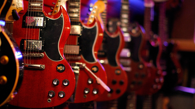 Gibson guitars on sale in New York City. (Getty Images)