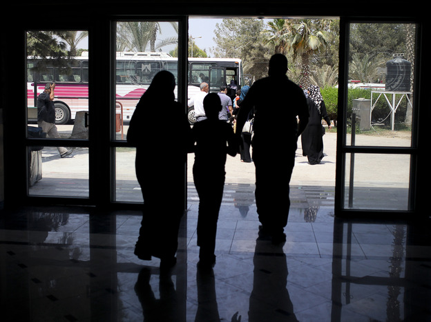 Days before Egypt shut down the Rafah border crossing, Palestinians were seen leaving the terminal to get on buses that would take them to Egypt.