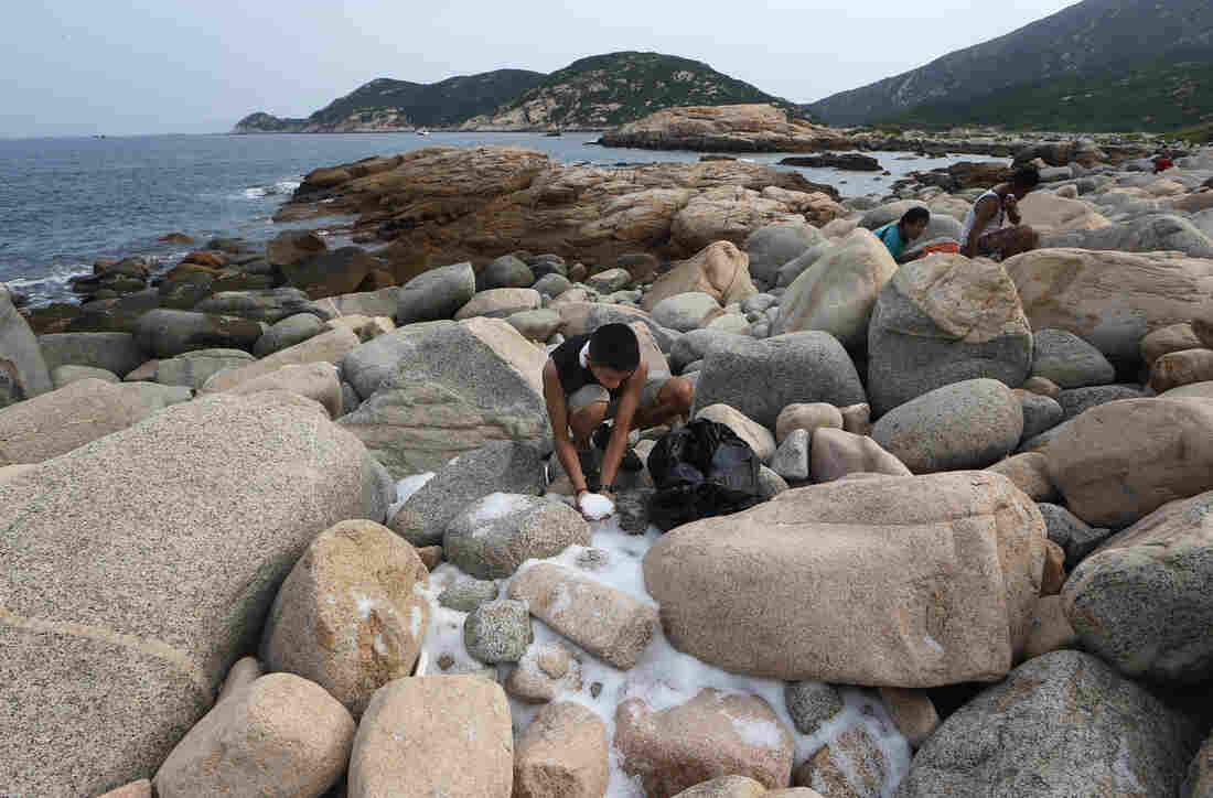 Volunteers collect plastic pellets washed up on a bank of Lamma island during a cleanup operation in Hong Kong on Sunday.