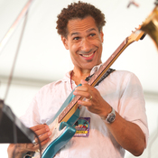 David Gilmore from Rudresh Mahanthappa's Samdhi is all smiles at the Newport Jazz Festival.