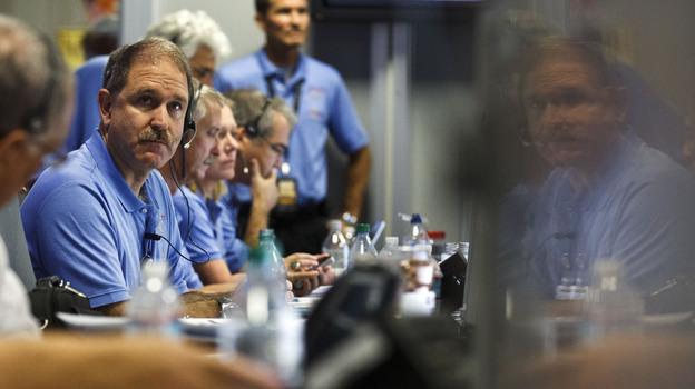 NASA Associate Administrator John Grunsfeld waits for landing inside the Spaceflight Operations Facility for NASA's Mars Science Laboratory Curiosity rover at Jet Propulsion Laboratory in Pasadena, Calif. on Sunday. (AP)