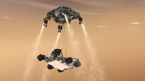 An artist's rendering shows a rocket-powered descent stage lowering the one-ton Curiosity rover to the Mars surface.
