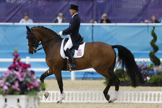 Jan Ebeling rides Rafalca in the equestrian dressage competition at the 2012 Summer Olympics on Aug. 2. Rafalca is co-owned by Ann Romney, the wife of Republican presidential candidate Mitt Romney.