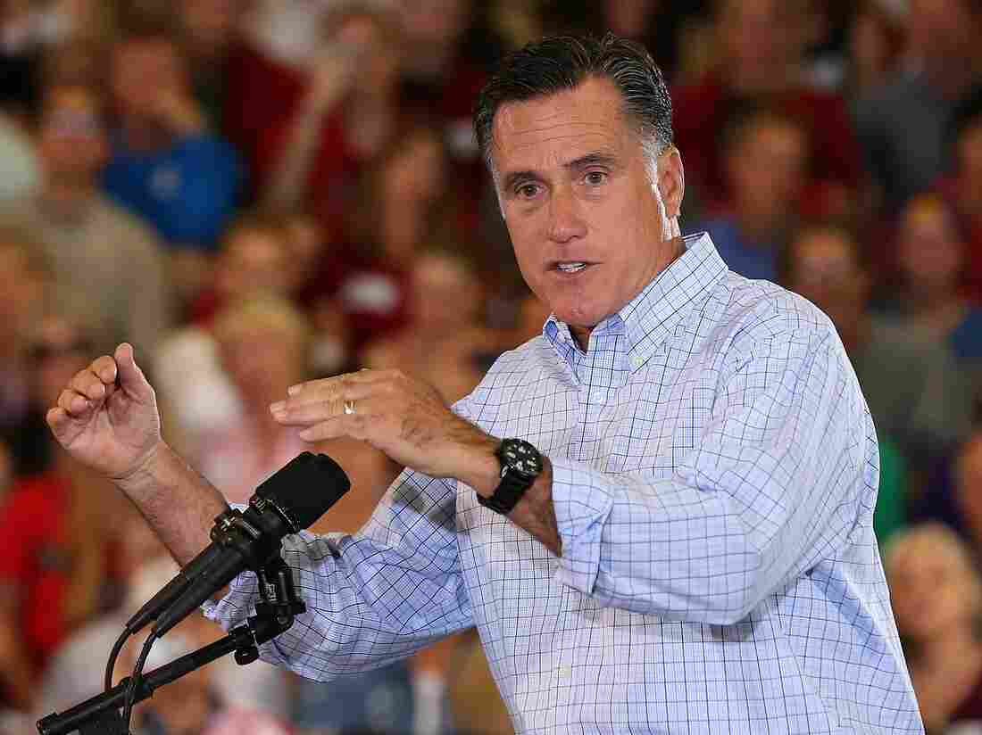 Mitt Romney speaks during a campaign stop at the Jefferson County Fairgrounds this month in Golden, Colo.