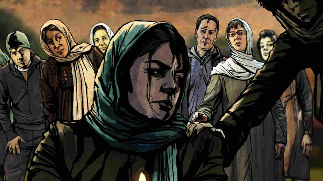 An Iranian woman mourns in The Green Wave, a documentary that mixes live action and animation to tell the story of the protests that erupted in the country during its 2009 elections.