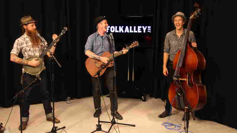 The Devil Makes Three share a laugh during a recent Folk Alley studio session.