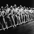 Actors onstage in A Chorus Line, around 1980.