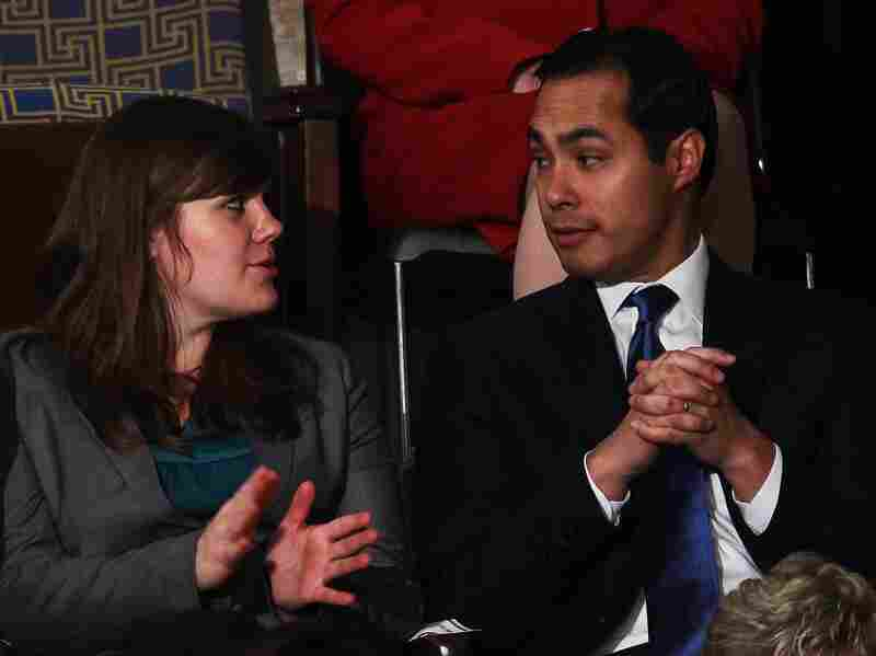 University of Colorado Denver student Mahala Greer and  San Antonio Mayor Julian Castro talk prior to President Obama's State of the Union address on January 24, 2012 in Washington, D.C.