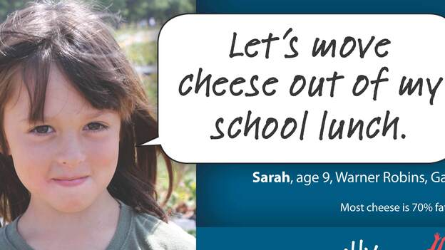 The newest campaign from vegan advocacy group Physicians Committee for Responsible Medicine targets dairy in school lunches. (Physicians Committee for Responsible Medicine)