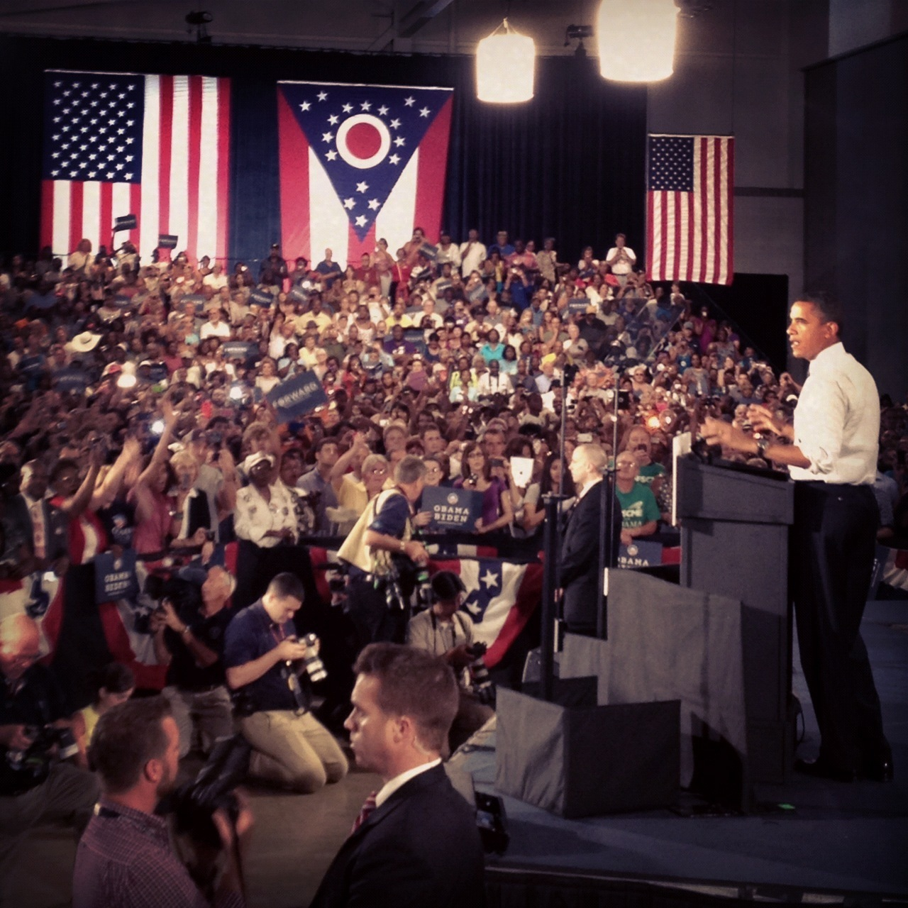 Obama speaks at a campaign rally in Akron, Ohio, on Wednesday.