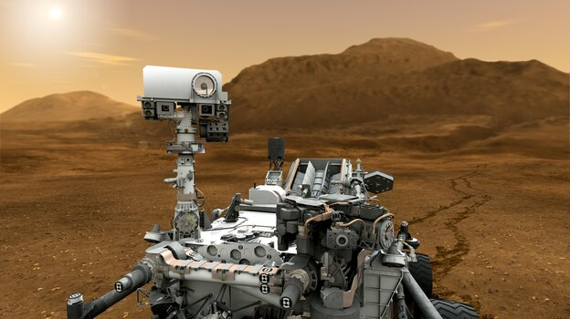 This artist concept shows NASA's Curiosity rover as it will look once it starts investigating the Martian surface for the ability to sustain microbial life — past or present.