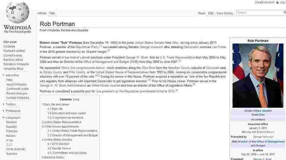 Wikipedia's entry for Sen. Rob Portman, R-Ohio. Is today's activity there a clue to Mitt Romney's vice presidential pick?