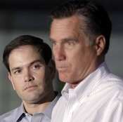 Sen. Marco Rubio, R-Fla., listens at left as Republican presidential candidate Mitt Romney speaks in Aston, Pa., in April. Republican leaders from Jeb Bush to John McCain have touted Rubio for vice president.