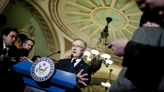 Senate Majority Leader Harry Reid, D-Nev. speaks to the media at the Capitol in March.