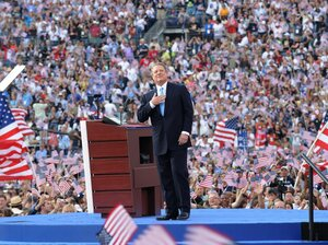 Former Vice President Al Gore acknowledges the crowd during the Democratic National Convention 2008 at the Invesco Field in Denver, Colo.
