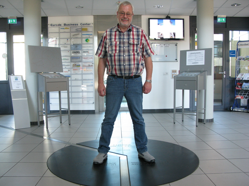 Hans Hover has one foot in Germany, and one in the Netherlands. (Robert Smith/NPR)