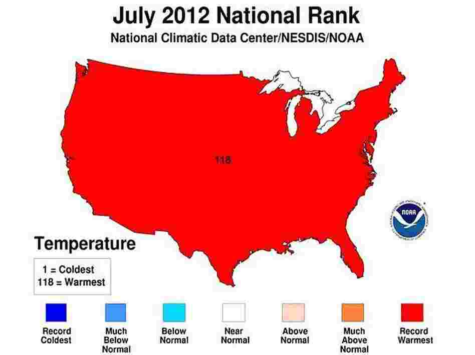 Only one color was needed to show where July ranks in terms of hottest months on record.