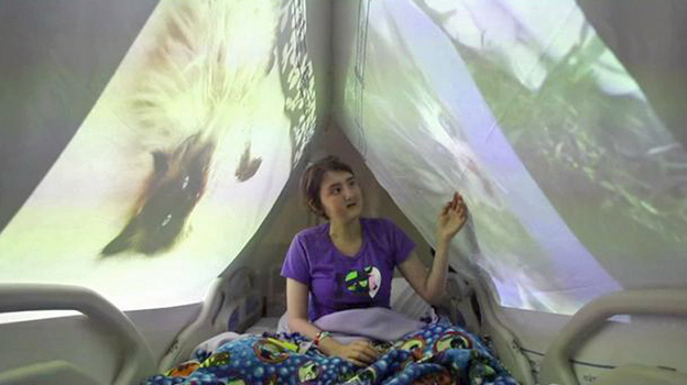 Maga Barzallo Sockemtickem, 16, received a bone-marrow transplant at Seattle Children's Hospital in 2011 for leukemia and returned in July 2012 for follow-up treatment. On July 25, an artist at the hospital set up a cat photo installation in her room. (Courtesy of Seattle Children's Hospital)