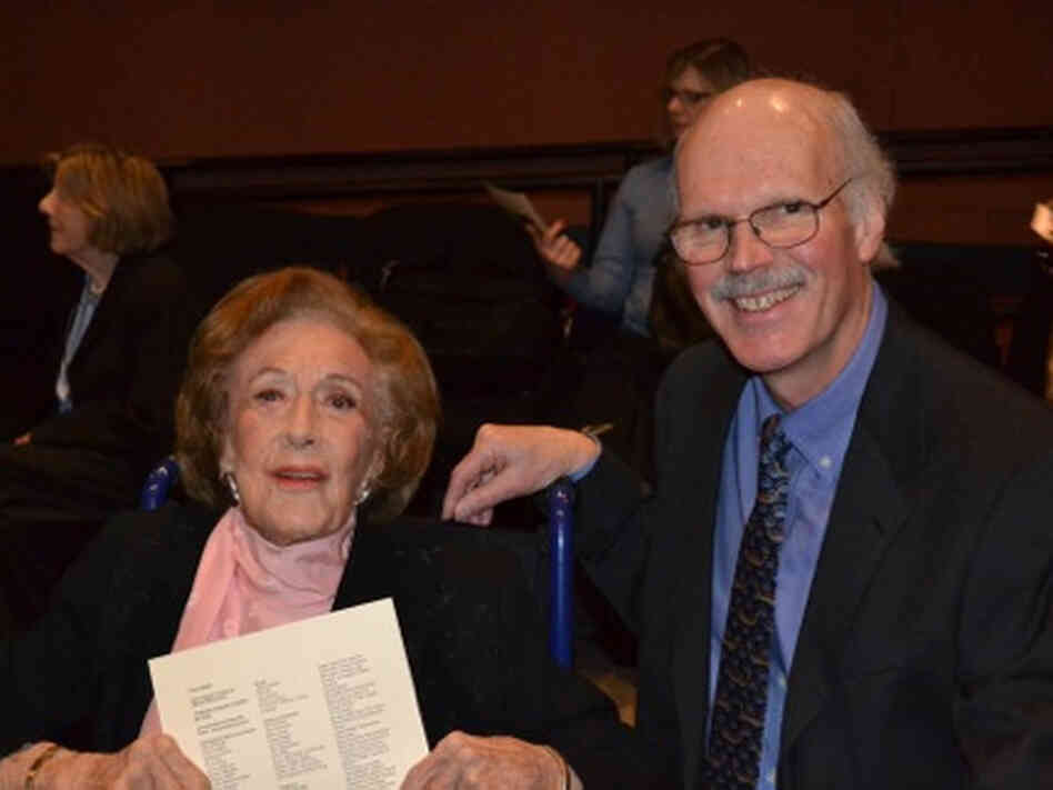 Marian McPartland and filmmaker Huey after a cast and crew screening of In Good Time in Port Washington, N.Y., in 2001.
