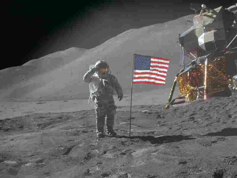 Apollo 15 commander David R. Scott landed on the moon on July 30,1971, near the Salyut crater.