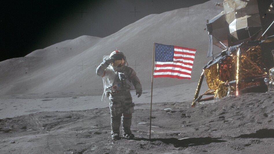 Apollo 15 commander David R. Scott landed on the moon on July 30,1971, near the Salyut crater. (NASA)