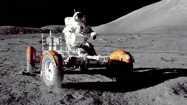 Apollo 17 commander Eugene A. Cernan takes a Lunar Roving Vehicle for a spin at the Taurus-Littrow landing site during the 1972 mission. (NASA)
