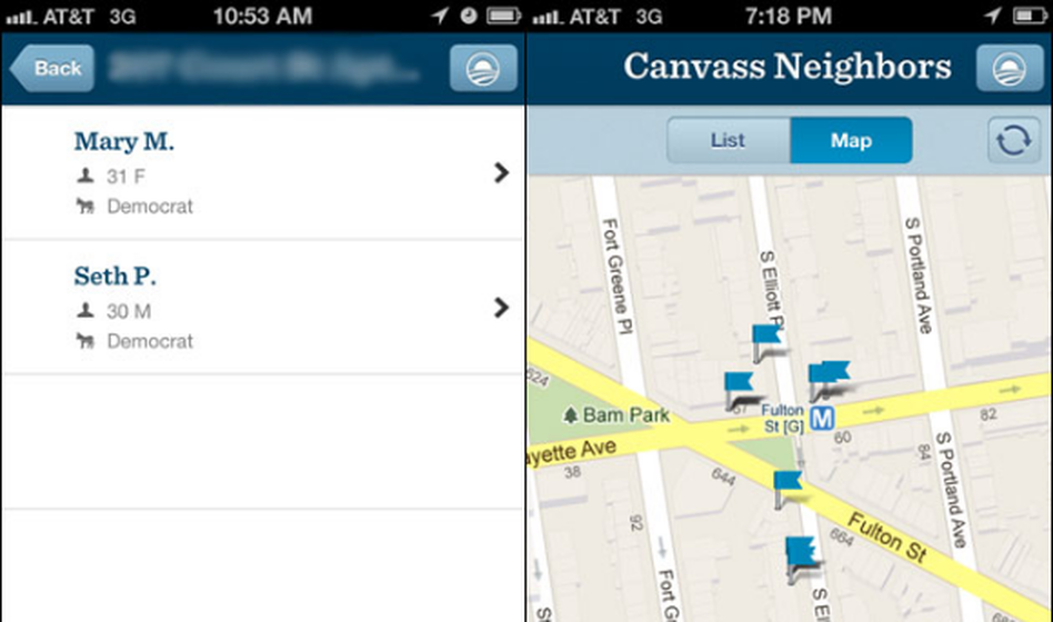 A screenshot of the new Obama campaign app.