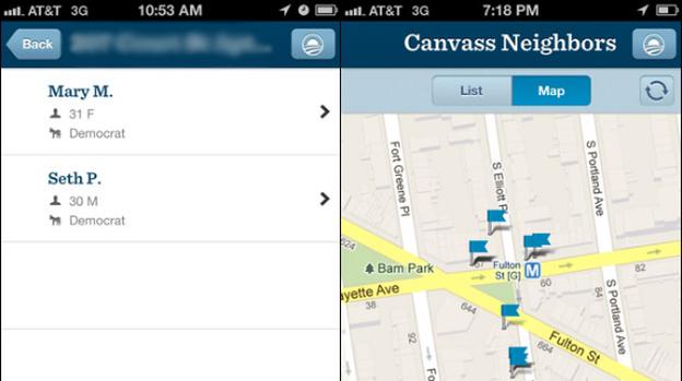 A screenshot of the new Obama campaign app. (Pro-Publica)