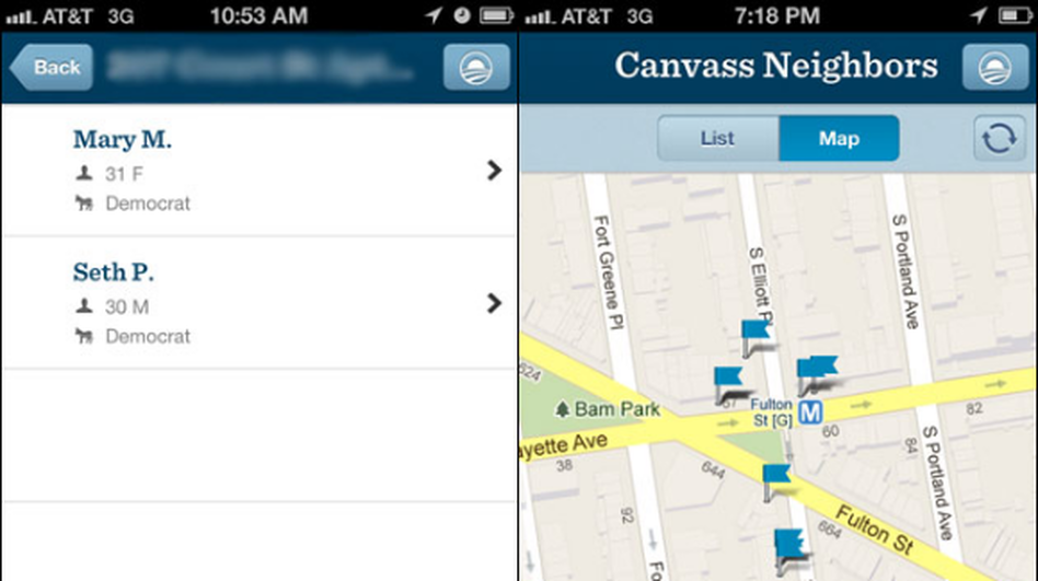 A screenshot of the new Obama campaign app. (Pro-Publica)