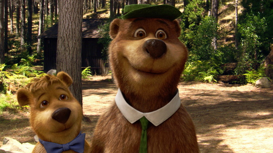Other bears with criminal pasts (involving pick-a-nick baskets): Boo Boo, left, and Yogi. (Warner Bros.)