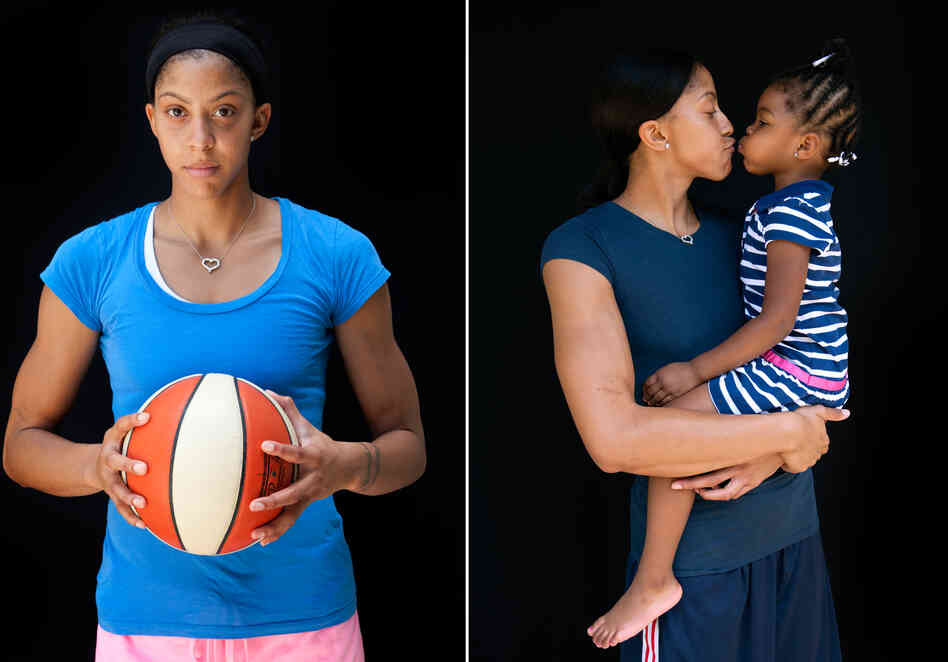 Candace Parker, basketball, with her daughter Lailaa.