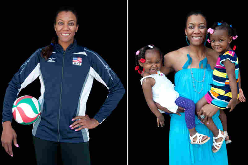 Danielle Scott-Arruda, volleyball, with grandniece Madison (left) and daughter Julianne.