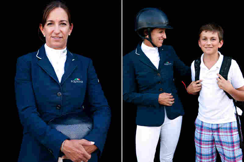 Laura Kraut, equestrian show jumping, with son Bobby.