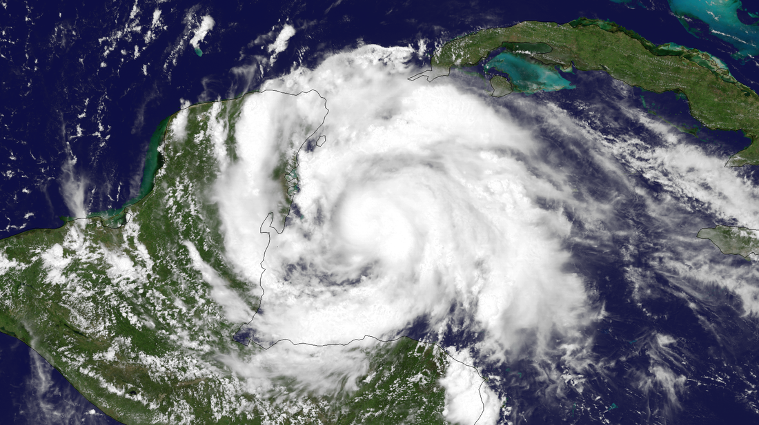 Hurricane Ernesto before making landfall in Mexico.