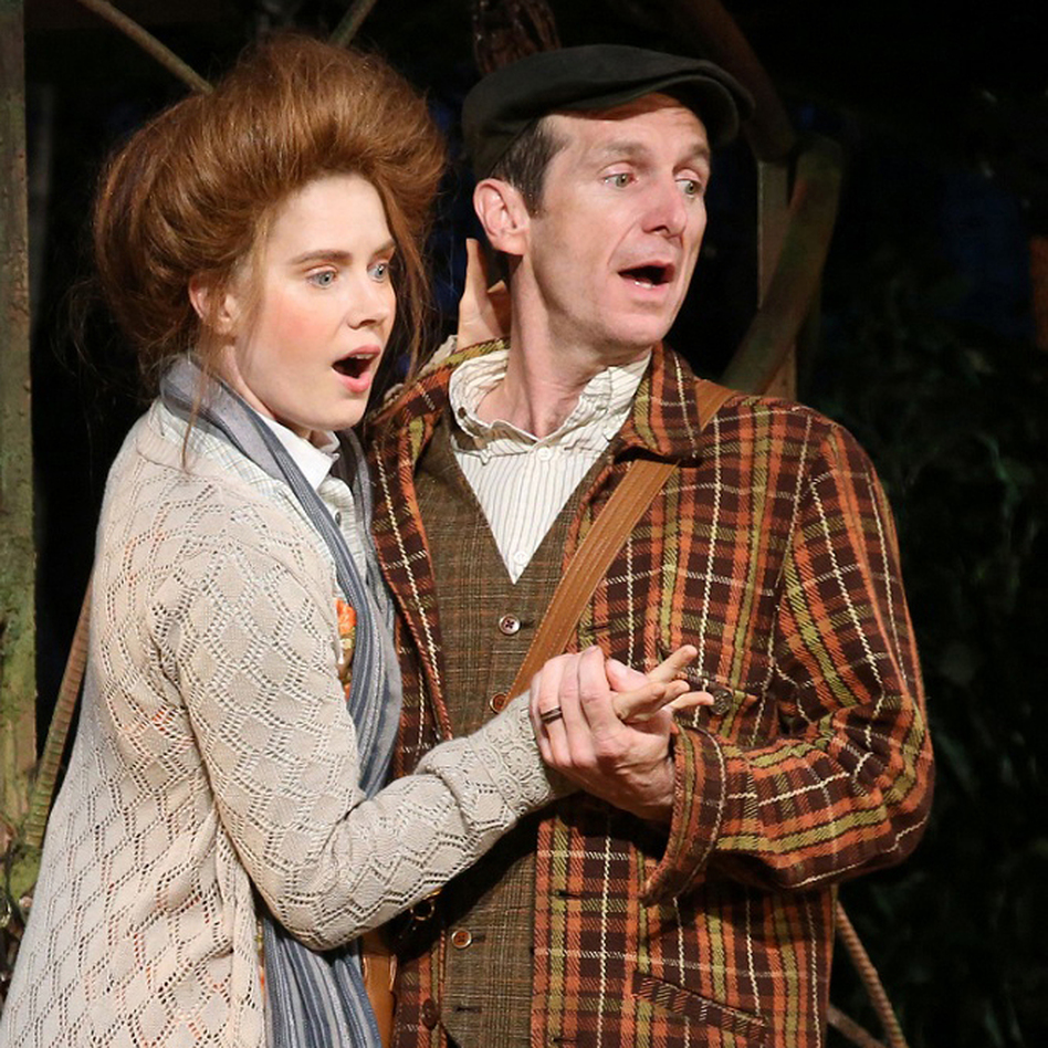 Amy Adams and Denis O'Hare are the Baker and the Baker's Wife, whose desperation to have a kid drives the fractured fairy-tale plot of Into the Woods. (The Public Theater)