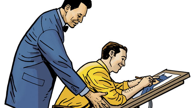 Bill Finger (left) helped create the Batman we know today, including his iconic costume, his tragic backstory, and many of his adversaries. (Ty Templeton)