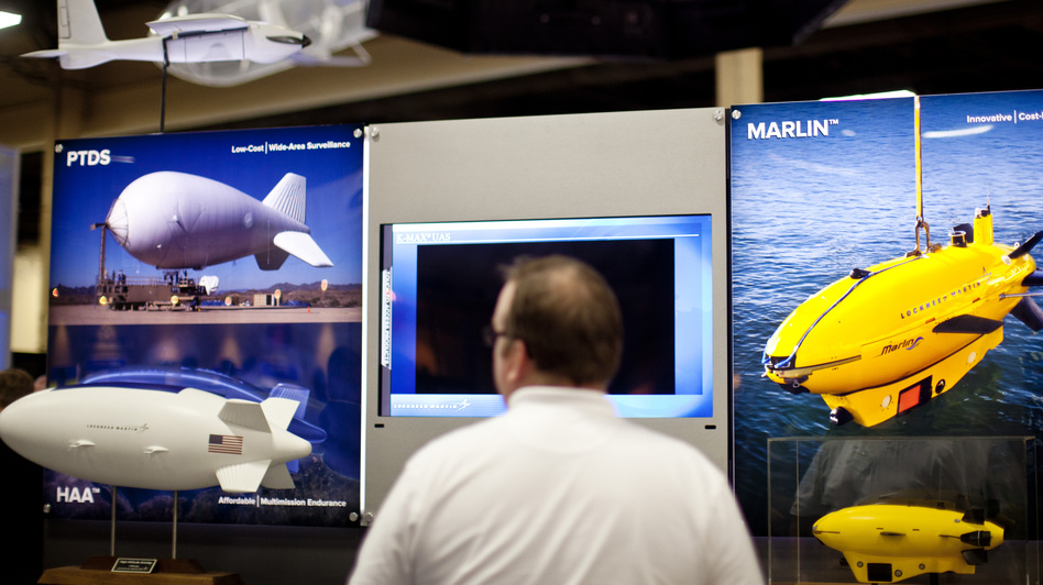 Manufacturers at the conference showed a wide range of unmanned vehicles used in the air, on land and in the sea. (NPR)