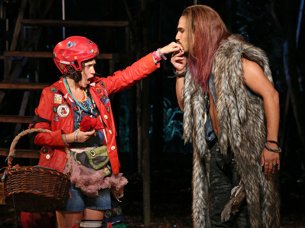 Sarah Stiles and Ivan Hernandez are Little Red and the Wolf — whose encounter in Into the Woods brings the fairy tale's charged sexuality forcefully to the surface. (The Public Theater)