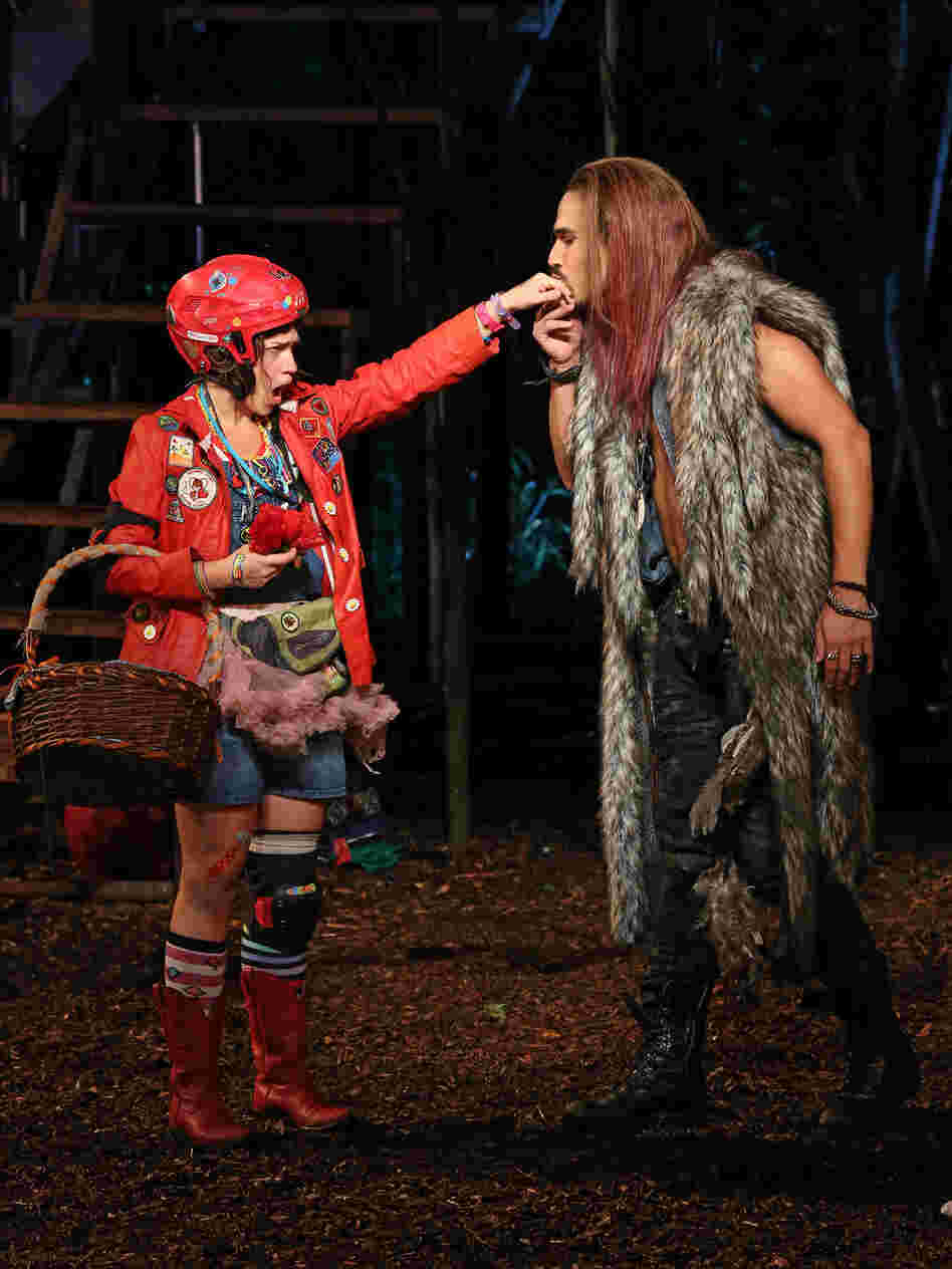 Sarah Stiles and Ivan Hernandez are Little Red and the Wolf — whose encounter in Into the Woods brings the fairy tale's charged sexuality forcefully to the surface.