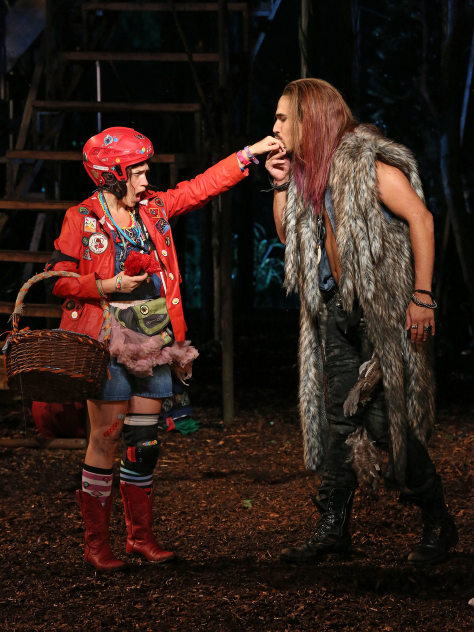Sarah Stiles and Ivan Hernandez are Little Red and the Wolf — whose encounter in <em>Into the Woods </em>brings the fairy tale's charged sexuality forcefully to the surface.