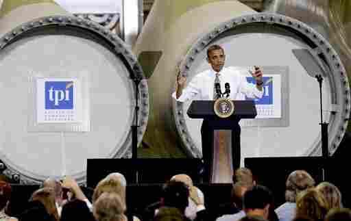 President Obama at a Newton, Iowa, wind-turbine blade maker in May.