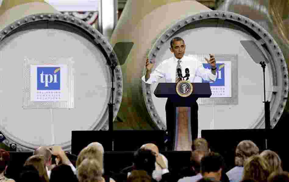 President Obama at a Newton, Iowa, wind-turbine blade maker in May.