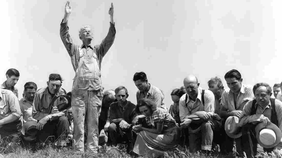 Henry Hall prays to the heavens in 1934's Our Daily Bread. King Vidor's film about a farmers collective living through a drought was made during one of the country's most catastrophic dry spells.