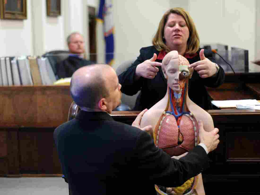Dr. Amy Tharp, a forensic pathologist, explains gun shot wounds on an anatomical model during her testimony in Bedford, Va. in March 2010.