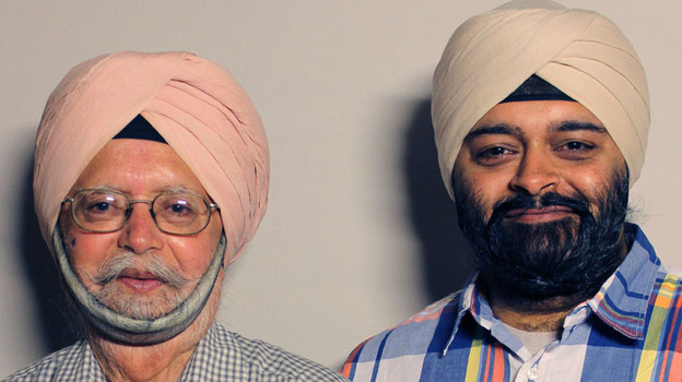 Surinder Singh and his son Rupinder visited StoryCorps in San Francisco in April. (StoryCorps)