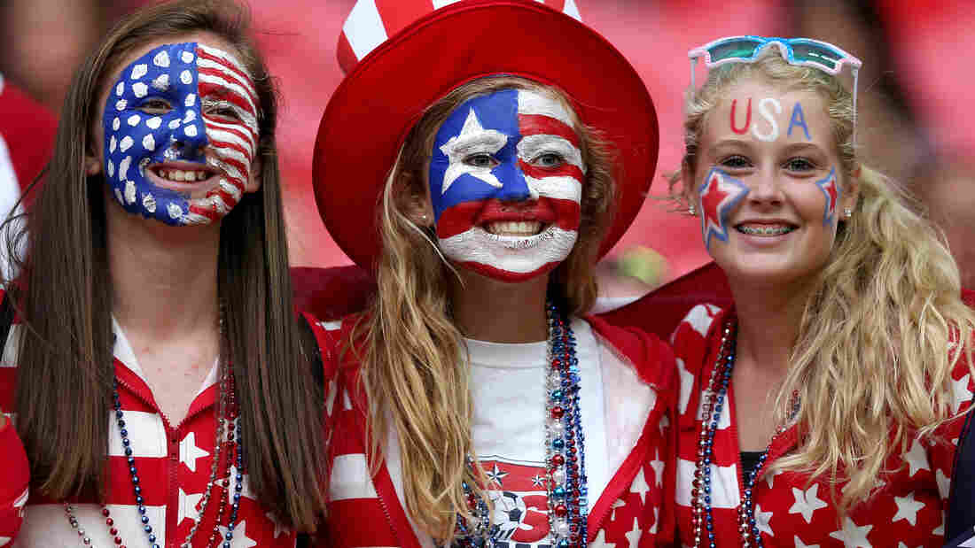 U.S. women's soccer fans wait for the start of the Olympic gold medal match between U.S. and Japan at London's Wembley Stadium.