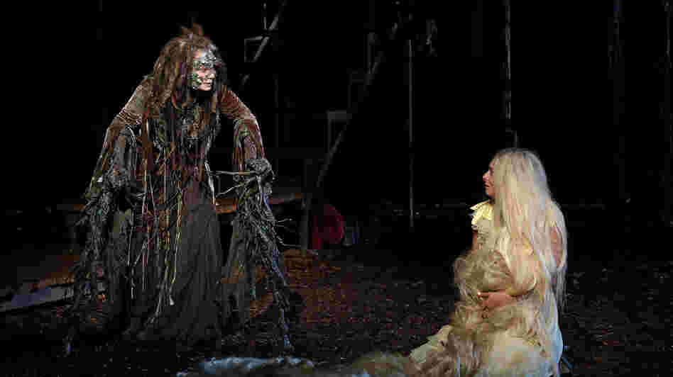 Donna Murphy plays the Witch and Tess Soltau her ward Rapunzel in Into the Woods, running as part of the Public Theater's 50th-anniversary Shakespeare in the Park season.