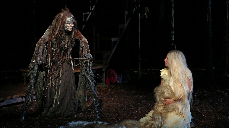 Donna Murphy plays the Witch and Tess Soltau her ward Rapunzel in Into the Woods, running as part of the Public Theater's 50th-anniversary Shakespeare in the Park season. (The Public Theater)
