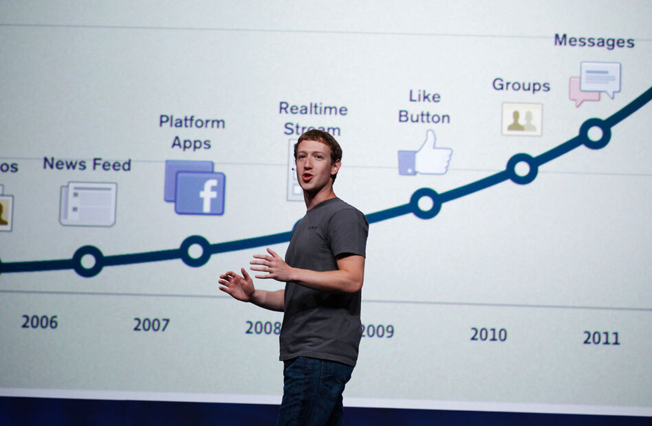 Facebook CEO Mark Zuckerberg talks about history of Facebook during the f/8 conference in San Francisco.