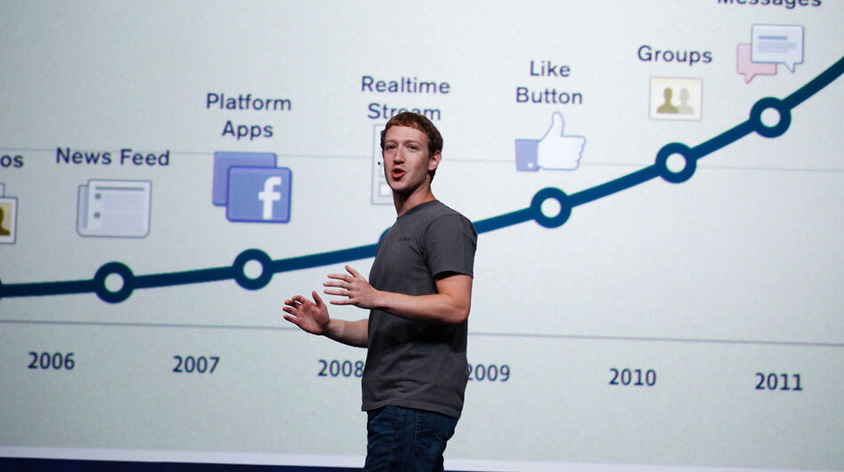 Facebook CEO Mark Zuckerberg talks about history of Facebook during the f/8 conference in San Francisco. (AP)